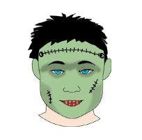 machiaj de halloween frankenstein