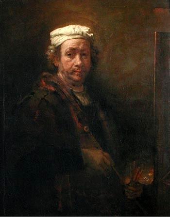 Autoportret cu sevalet - Rembrandt, 1660