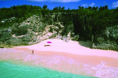Plaja cu nisip roz pe Insula Komodo