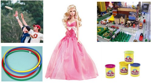 frisbee barbie lego hula play doh