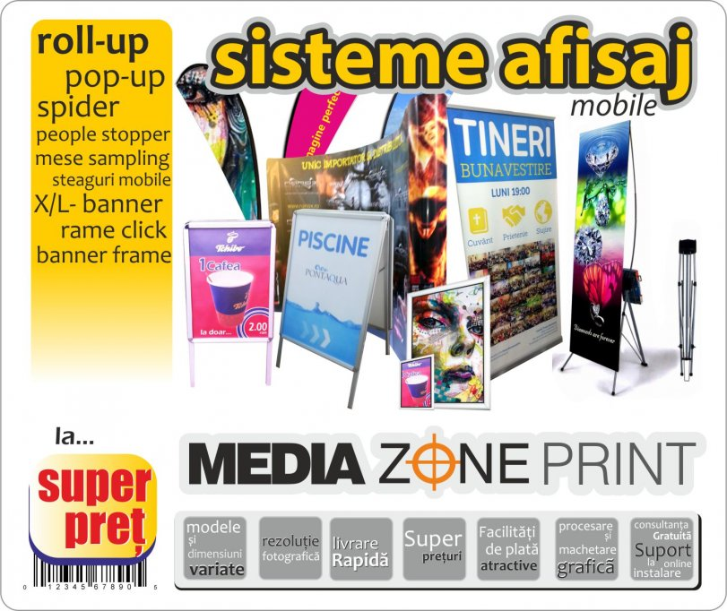 Super Pret sisteme ROLL-up si pop-up ! Fabrica sisteme afisaj mobile !