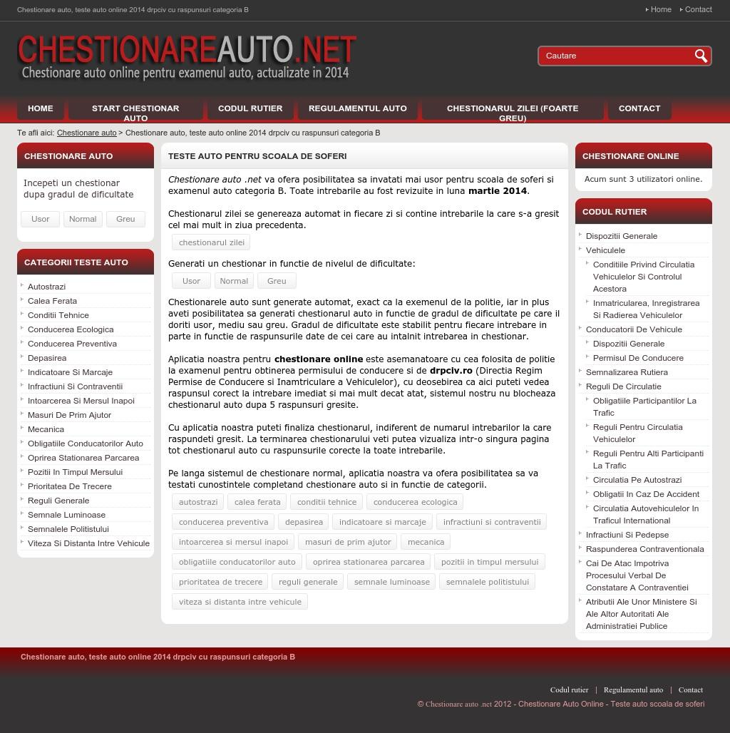 Chestionare auto - Teste auto online
