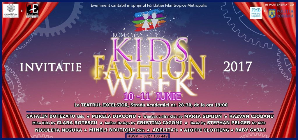 Invitatie la cea de-a doua ediție Kids Fashion Week