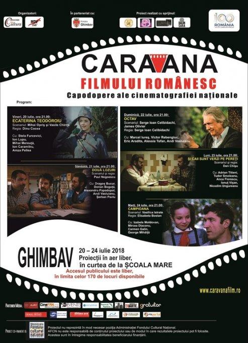 Caravana filmului românesc  soseşte la GHIMBAV,  în al treilea an!